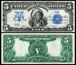 Reproduction 1899 INDIAN CHIEF $5 Silver Cert US Banknote, Large size, H... - $12.99
