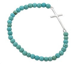 925 Sterling Silver Thin Line Cross Beaded Blue Reconstructed Turquoise Spheres - $75.39