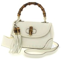 GUCCI Handbag Leather White New Bamboo Shoulder Bag 254884 Authentic 534... - $828.45