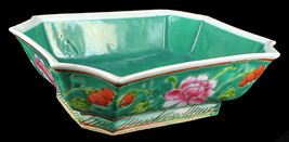 Antique 19thC Chinese Famile Rose Bulb Bowl Turquoise Ground Hand Painted - $503.99