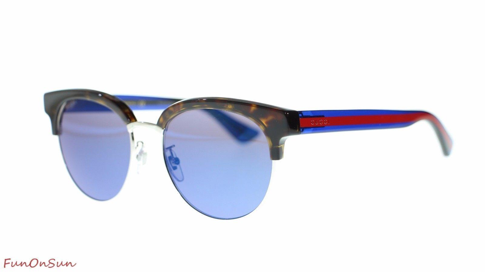 dff1ffbb13c S l1600. S l1600. Previous. Gucci Women Sunglasses GG0058SK 004 Havana  Blue Blue Mirror Lens 55mm Authentic