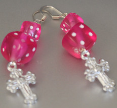 Faithful Gamers bright pink dice and silver cross dangle or drop earrings - $12.00