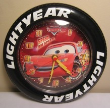 """Disney Pixar Cars Movie Lightyear Tire-Shaped Battery-Operated 8.5"""" Wall... - $7.91"""
