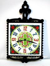 Vintage Lobeco Cast Iron Frame Ceramic Tile Clock Print Japan Wall Hangi... - $16.82