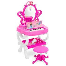Toy Vanity Set 16 Beauty Accessories Functional Piano Keyboard & Flashin... - $60.99