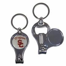 usc trojans logo ncaa 3 in 1 nail care bottle opener keychain - $18.04