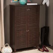 Dark Brown Finish Shoe Cabinet Wooden Storage Shelves Organizer Rack 18 Pairs - $188.09