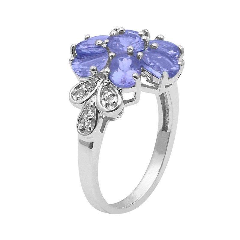 Tanzanite,White Topaz Gemstone Sterling Silver Ring Shine Jewelry Sz-9 SHRI1475
