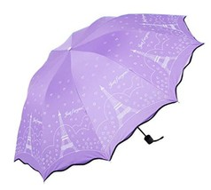 Purple Anti-UV Portable Umbrella Parasol Folding Sun/Rain Umbrella - $22.18