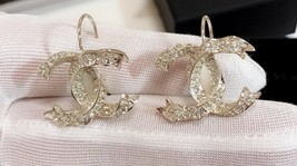 SALE* AUTHENTIC Chanel Gold CC Ribbon Crystal Large Piercing Earrings image 5