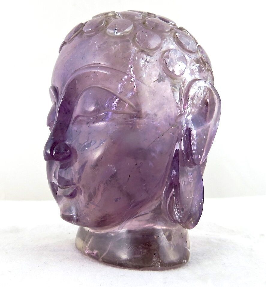 Primary image for NATURAL BRAZILIAN AMETHYST BUDDHA HEAD STATUE 2350 CARATS GEMSTONE HOME DECOR