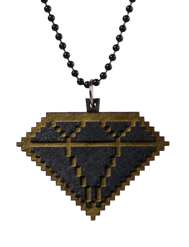 Good Wood New York 8 Bit Wooden Diamond Pendant Ball Necklace NWT