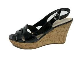 Franco Sarto Casey women's wedge sandals black ankle straps size 8M - $24.14