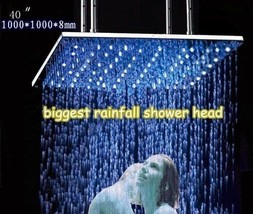 "New 40"" Brushed Stainless Steel Temperature Controlled LED Rainfall Shower Head - $1,425.59"