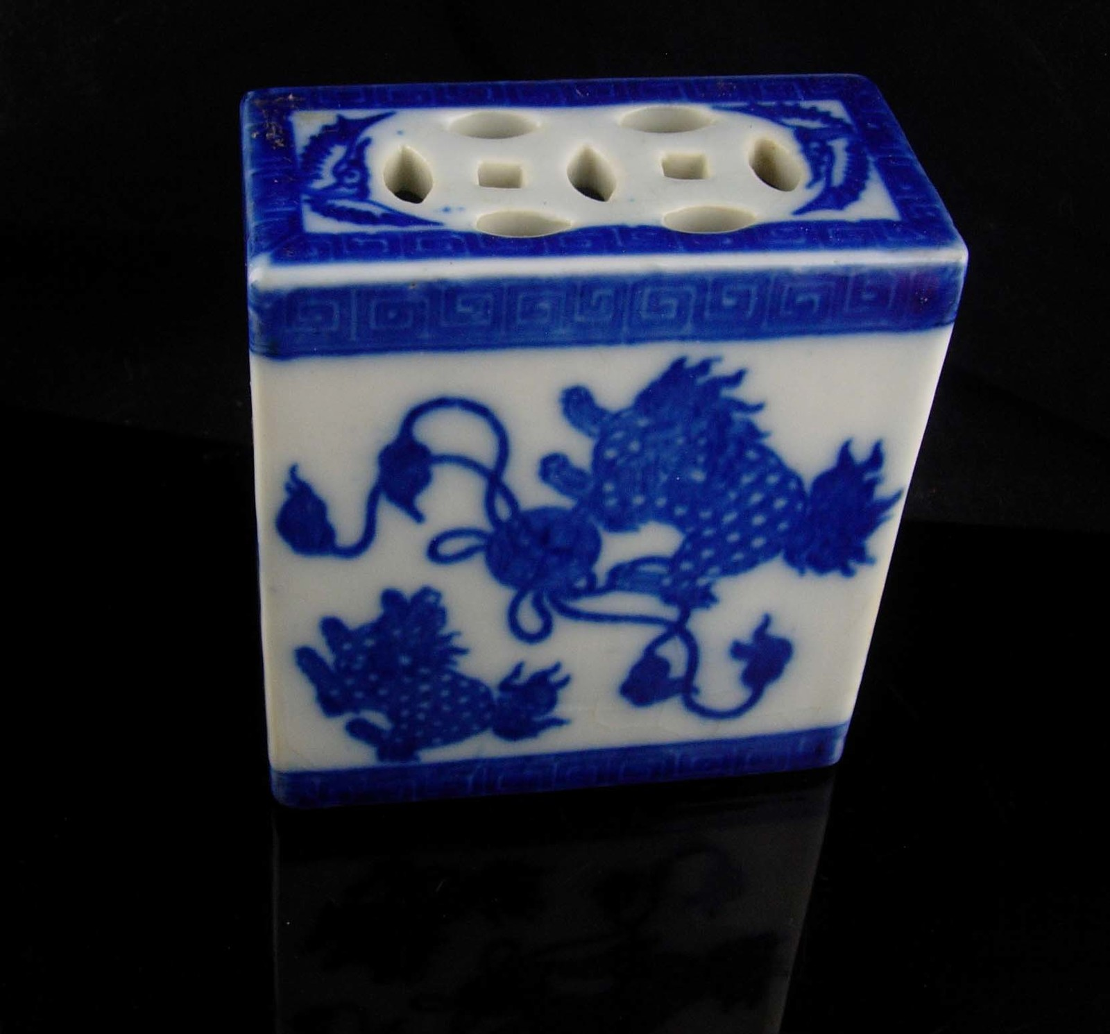Antique Foo Dog opium pillow - vintage mythical protectors - chinese box
