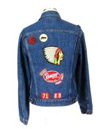 Vtg 90s Levis Jean Jacket Blue Denim Black Hawk Ranger Indian Chief Patc... - $94.04