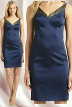 $498 Elie Tahari Rena Stretch Satin Cobalt Blue Metallic Sequin Neck Dress - $157.50