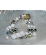 Vintage Triplestrand White & Clear Auorora Borealis Graduated Bead Link ... - $12.19