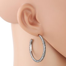 UNITED ELEGANCE Silver Tone Hoop Earrings With Dazzling Swarovski Style ... - $19.99