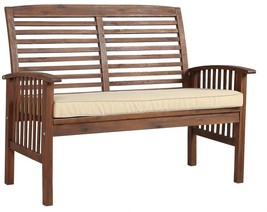 Walker Edison Dark Brown Acacia Wood Outdoor Patio Loveseat Bench White ... - $244.98