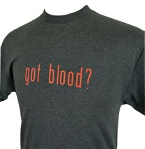 got blood? wanna share? Donor Novelty T-Shirt Gray Medium Two Sided Cott... - $12.89