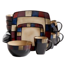 Gibson Soho Lounge 16-Piece Mosaic Reactive Glaze Dinnerware Set, Multic... - $117.40