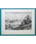 WALES Chepstow Castle Remians - 1877 Wood Engraving Illustration - $8.09