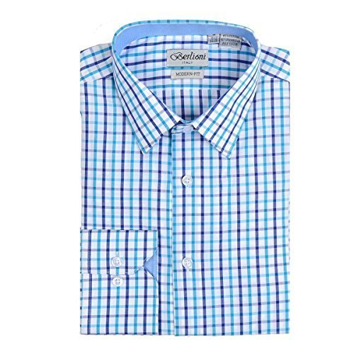Berlioni Italy Boys Kids Toddlers Checkered Plaid Dress Shirt (Light Blue, 12)