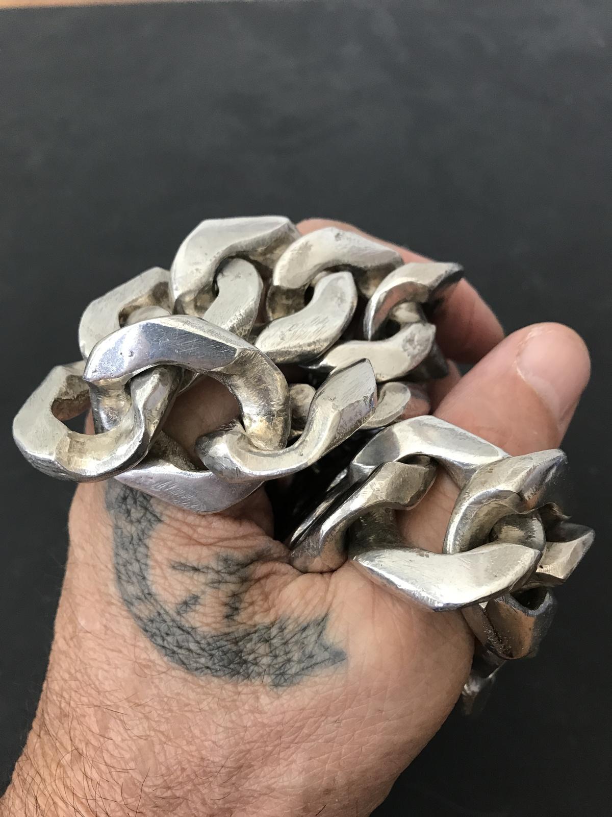 Spectacular Massive Custom Made 925 Sterling Silver Link Necklace