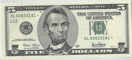 2001 $5 Federal Reserve * Star Note* San Francisco District UNC - $17.81