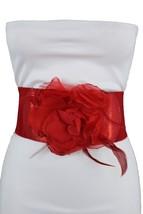 Women Belt Hip High Waist Red Elastic Glitter Waistband Fashion Bling Fl... - $13.71