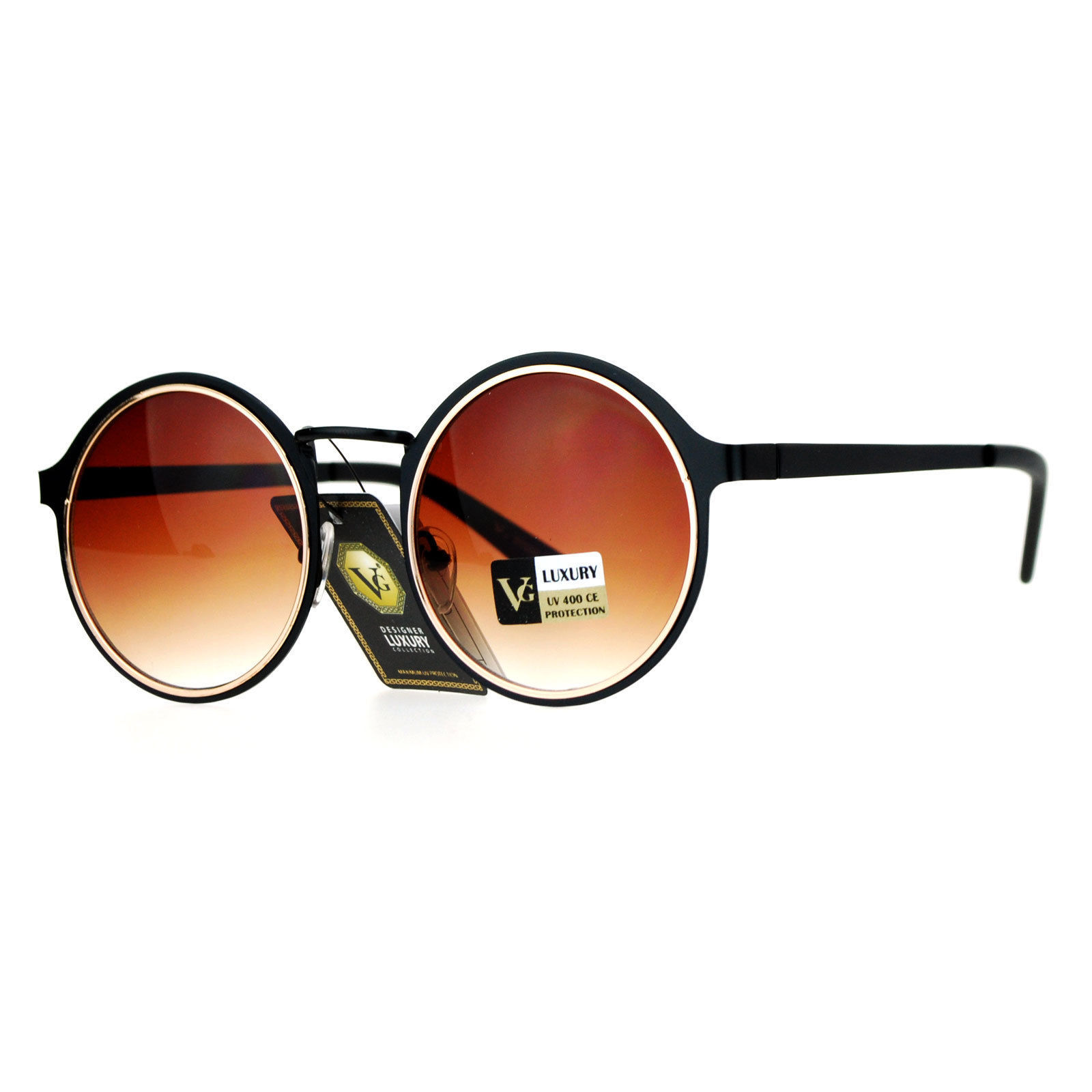 Womens Fashion Sunglasses Round Layered Circle Metal Frame UV 400