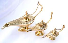 "set 3 pc Aladin ""Alladin"" Genie Oil Brass Ornate Lamps  Lightin Differen... - $42.06"