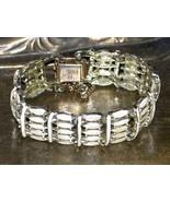CORO Pegasus Cuff Bracelet, Pearl Enamel, Safety Chain, Vintage 50s - $30.00