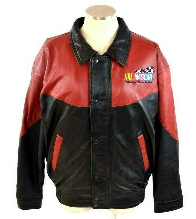 Vtg 90s Nascar Racing Soft Black & Red Luxe Leather Retro Bomber Jacket Mens S