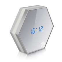 Alarm clock night light temperature display mirror thermometer touch sensing table lamp thumb200