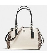 Women's Cream Coach Small Christie Carryall Snake Leather Trim - $362.70