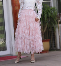 Women Pink Tiered Tulle Skirt Pink Flower Ruffle Tulle Layered Skirt Plus Size image 2