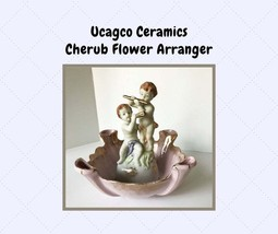 Vintage Ucagco Cherub Flower Arranger with 4 Vases Pink & Gold MCM Decor - $36.00