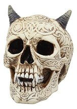 Ebros Cream Celtic Efreet Horned Demon Skull Statue Halloween Spooky Imp... - $28.66