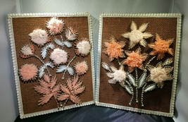 """Nail String Art Hippie Flower Power Wall Hangings Vintage Finished 10 x 8"""" - $29.99"""
