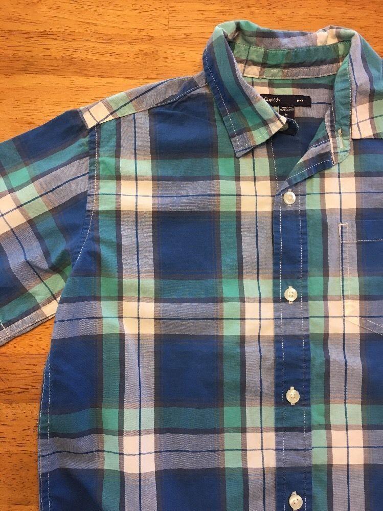 Gap Kids Boy's Blue, Green & White Plaid Short Sleeve Dress Shirt - Size: Medium image 6