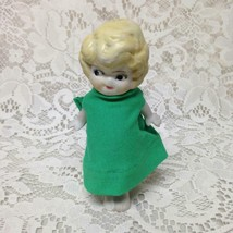 Antique, Made in Japan, 5.25in Bisque, Googly-eyed Doll  in Green Dress - $19.95