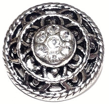 Antique Silver Rhinestones 18mm Snap Charm Interchangeable For Ginger Snaps - $6.19