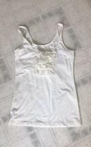 Eddie Bauer Cream XS Petite Sleeveless Tank Top Silk Ruffle Front Cotton... - $15.79
