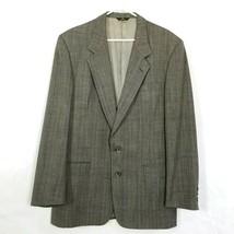 Perry Ellis Men's Gray Plaid Wool Blazer Sport Coat Suit Summer Jacket Size 44R - $38.26