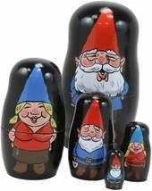 Whimsical Mr Mrs Gnome Family Nesting Dolls Matroyshka Babushka 5pc Figu... - $21.99