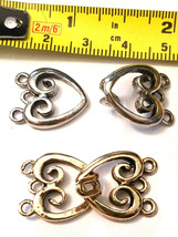 DECORATIVE HEART FINE PEWTER NECKLACE HOOK CLASP SET image 2