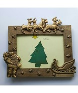 "Santa Reindeer Heavy Bronze Metal Picture 5""x3.5"" Photo Frame NWT Christ... - $13.99"