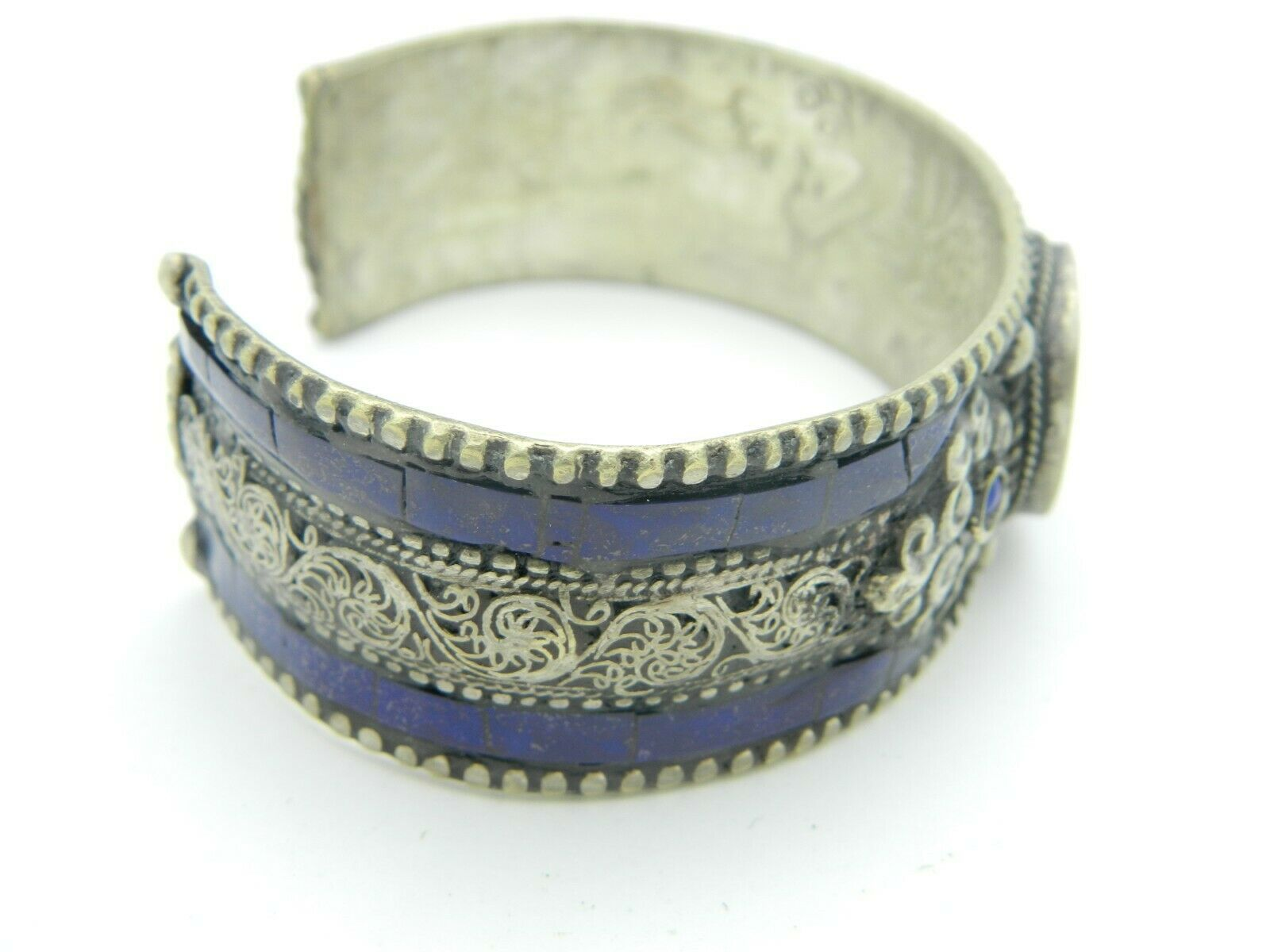 Tibetan Silver Blue Lapis Cuff Bracelet Dragon Embossed Inside Vintage